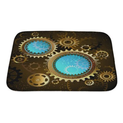Vintage Mechanical Glass Gears Bath Rug Size: Small