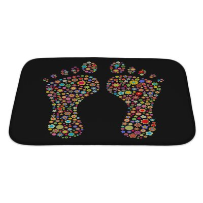 Human Touch Footprint Shape Made Up a Lot of Multicolored Small Flowers on The Black Bath Rug Size: Large