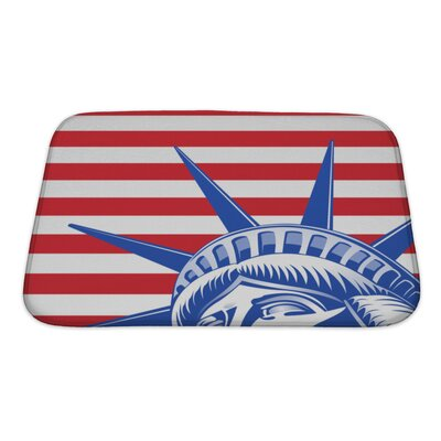 Patriotic Stripes and Statue of Liberty Closeup Bath Rug Size: Small