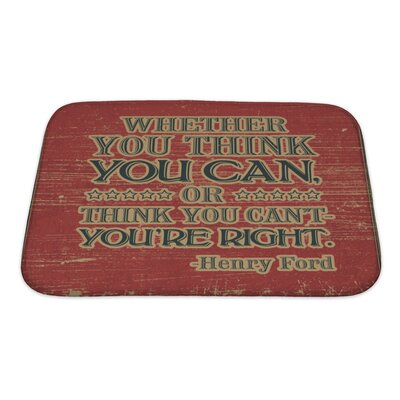 Vintage Retro Henry Ford Quote Bath Rug Size: Small