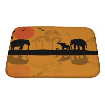 Animals African Wildlife at Sunset, Elephants Near Water Bath Rug Size: Small