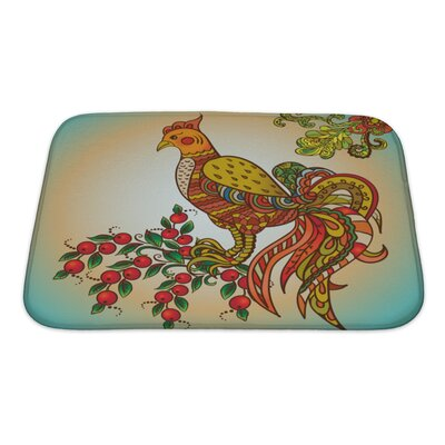 Birds Khohloma Ornament Bath Rug Size: Small