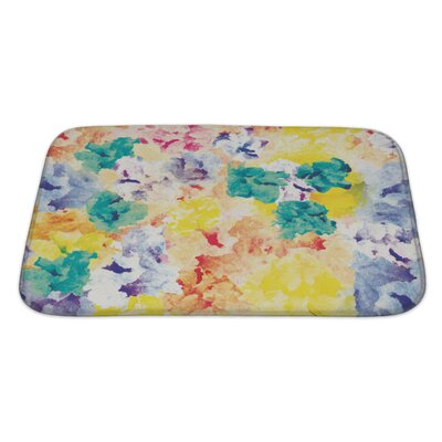 Art Primo Floral Watercolor Abstract Bath Rug Size: Large
