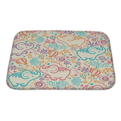 Animals Elephants with Flowers Bath Rug Size: Small