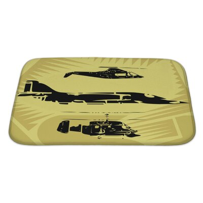 Aircraft Aeroplane Fighter Plane and Helicopter Flying in the Sky Bath Rug Size: Large