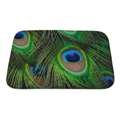 Animals Bright Peacock Feather Bath Rug Size: Small