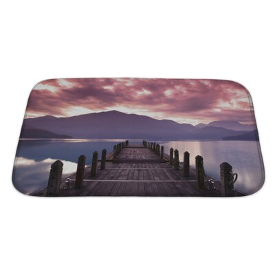 Landscapes Beautiful Morning at Spring Before Sunrise and Pier View Bath Rug Size: Large