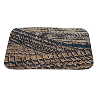 Cars Wheel Tracks on the Soil, Closeup Pattern Bath Rug Size: Large
