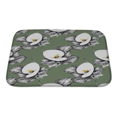 Flowers Calla Lilly Floral Bath Rug Size: Small, Color: Green