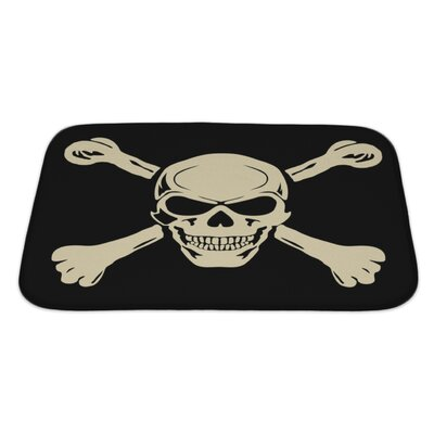 Danger Evil Skull with Bones Warning Sign Bath Rug Size: Large