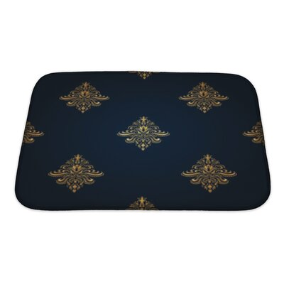 Alpha Gold Classic Pattern with Floral Ornaments Bath Rug Size: Small