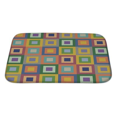 Cappa Retro Styled Pattern with Colorful Squares Bath Rug Size: Large
