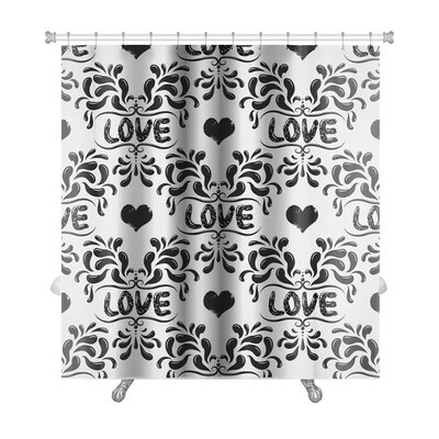 Delta Damask Pattern with Love Word Premium Shower Curtain