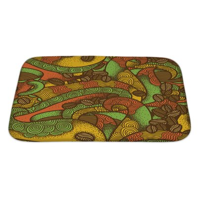 Simple Coffee Flavor Hand Drawn Graphic Ornate Warm Colors Pattern Bath Mat/Rug Size: Large