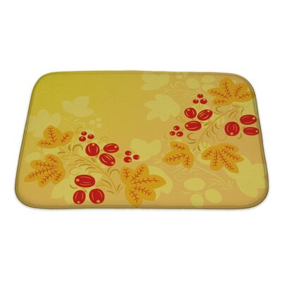 Simple Berries and Leaves in the Khokhloma Style Bath Rug Size: Small