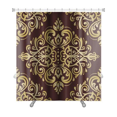 Delta Damask Ornament Fine Traditional Oriental Pattern Premium Shower Curtain