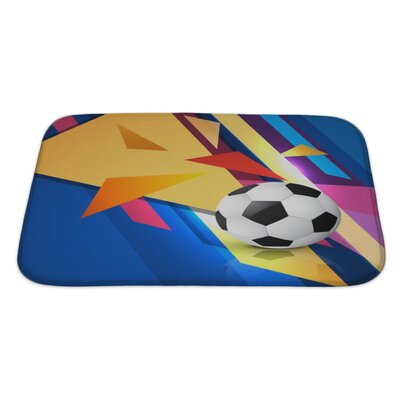 Soccer Colorful Abstract Football Bath Rug Size: Large