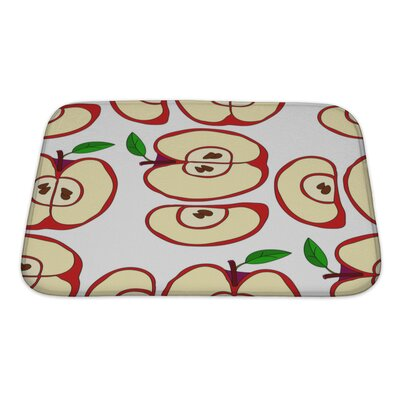 Fruit with Apples and Leaves Isolated on White Bath Rug Size: Small