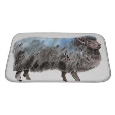 Animals Watercolor of a Sheep Bath Rug Size: Large