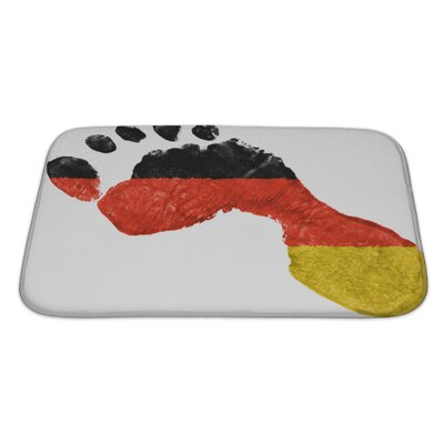 Human Touch German Flag Painted in a Shape of Footprint Bath Rug Size: Small
