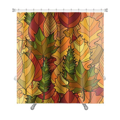 Leaves Abstract Doodle Autumn Leaves Premium Shower Curtain