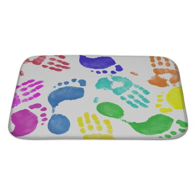 Human Touch Finger Painted Hand and Footprint Pattern Bath Rug Size: Large