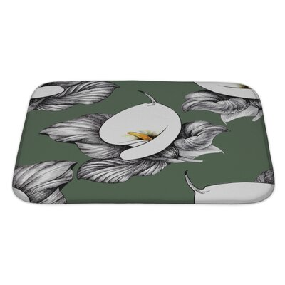 Flowers Calla Lilly Floral Bath Rug Color: Green, Size: Large