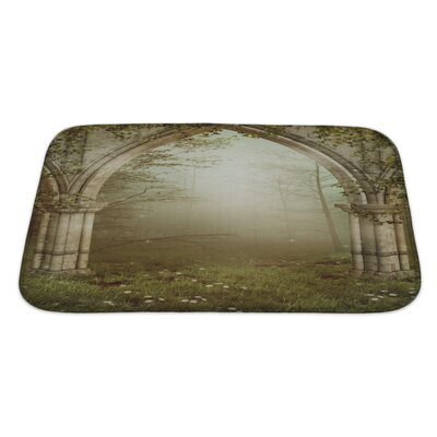Landscapes Foggy�Forest�with�Old�Ruins�Bath�Rug Size: Large