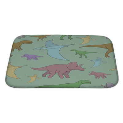 Dinosaurs with Colorful Hand Bath Rug Size: Large