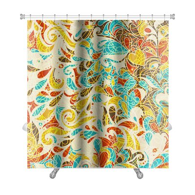 Kilo Retro Mosaic Leaf Pattern Premium Shower Curtain
