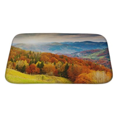Landscapes the Mountain Autumn Landscape with Colorful Forest Bath Rug Size: Large