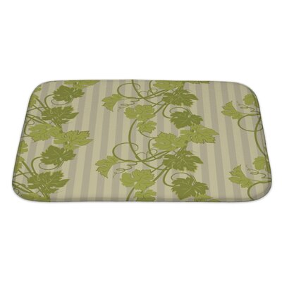 Leaves Repeating Pattern with Vines in Vintage Style Bath Rug Size: Large