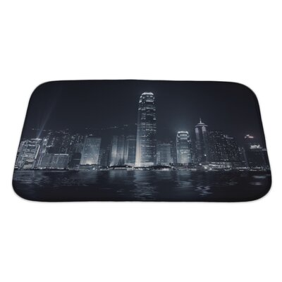 Skyline Landmark of Hong Kong with Famous Skyscraper and Modern Building in the Evening Bath Rug Size: Large
