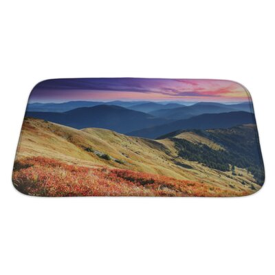 Landscapes Majestic Sunset in the Mountains Landscape HDR Image Bath Rug Size: Large