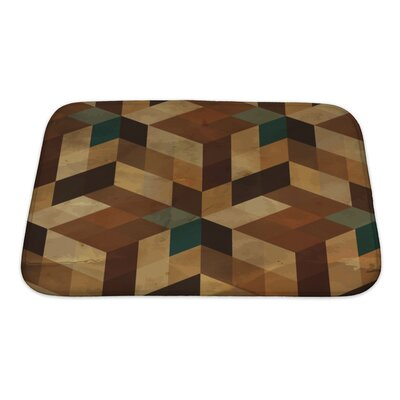 Delta Vintage Geometric Bath Rug Size: Small, Color: Brown