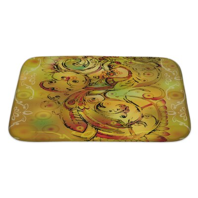 Art Touch Firebird with Crown and Branches Bath Rug Size: Large