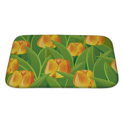 Flowers From Tulips and Leaves Bath Rug Size: Large