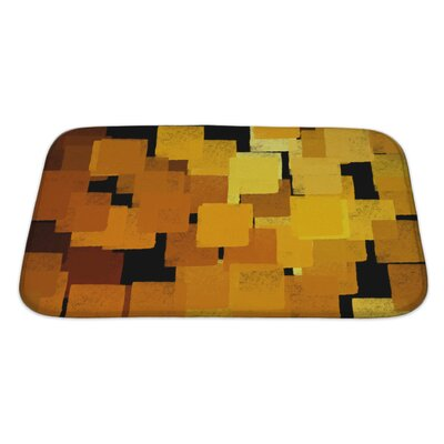 Art Beta Squares Abstract Brush Paint Bath Rug Size: Large