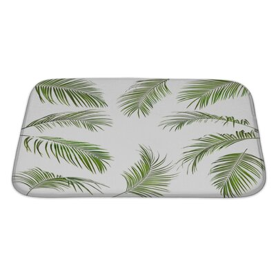 Nature Palm Leaves Isolated Bath Rug Size: Large