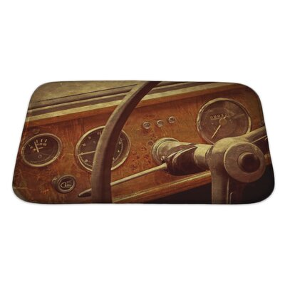 Vintage Old Postcard with Drivers Cockpit of a Vintage Classic Car Bath Rug Size: Large