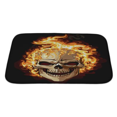 Danger Skull Icon Fire Ornament Tattoo Bath Rug Size: Large