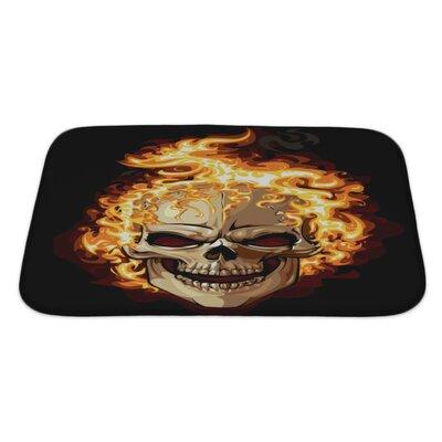Danger Skull Icon Fire Ornament Tattoo Bath Rug Size: Large