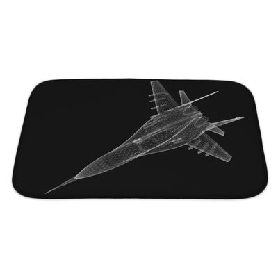 Aircraft Fighter Plane Model, Body Structure, Wire Model Bath Rug Size: Large, Color: Black