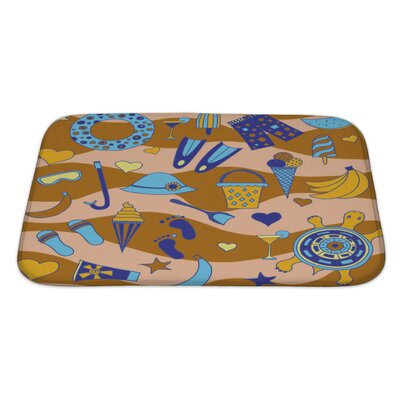 Marine Interesting Pattern with Beach Bath Rug Size: Large