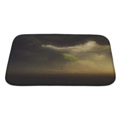 Nature the Sun is Shining Through the Clouds on a Single Tree in the Field Bath Rug Size: Large