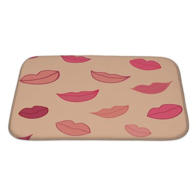 Human Touch Pattern with Woman Lips Bath Rug Size: Large