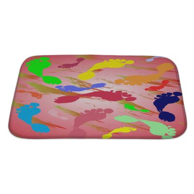 Human Touch Of Foot Prints and Colorful Splashes Bath Rug Size: Large