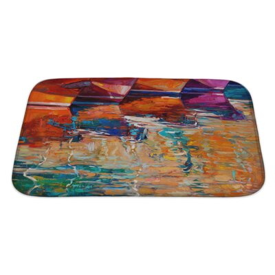 Art Alpha Boats and Pier Sunset Over Ocean Bath Rug Size: Large