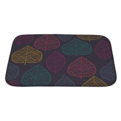 Leaves Stylized Color Leaf Pattern Bath Rug Size: Large