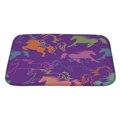 Animals of Racing Colorful Horses Bath Rug Size: Large